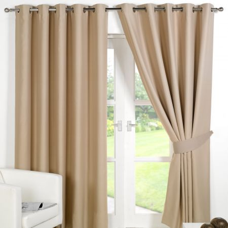 Dreamscene Eyelet Blackout Curtains - Beige