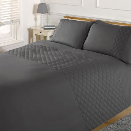 Brentfords Pinsonic Diamond Duvet Cover Set - Charcoal Grey