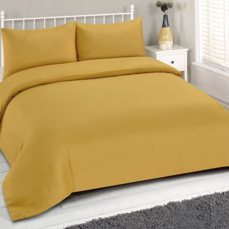 Brentfords Plain Duvet Cover Set - Ochre