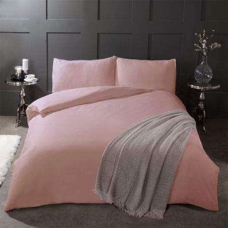 Highams Brushed Cotton Duvet Cover Set - Blush Pink