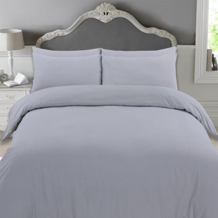 Highams 100% Brushed Cotton Complete Duvet Cover Set - Grey