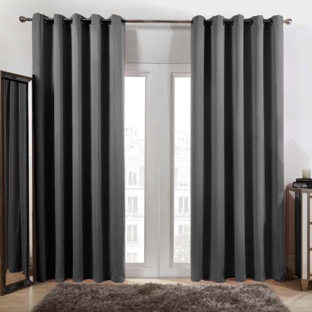 Dreamscene Eyelet Blackout Curtains - Charcoal