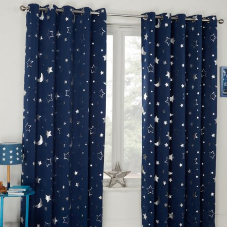 Dreamscene Star Blackout Galaxy Kids Curtains - Navy Blue