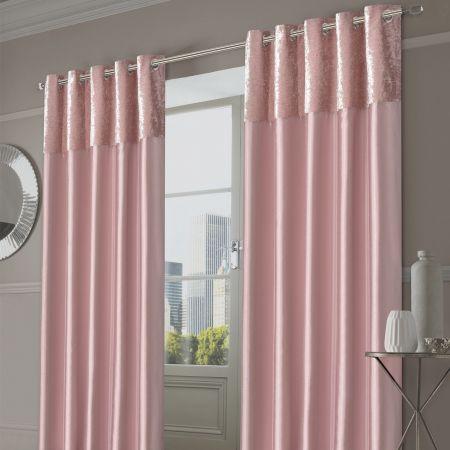 Sienna Home Manhattan Crushed Velvet Band Eyelet Curtains - Blush Pink, 46