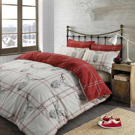 Dreamscene Stag Check Duvet Cover Set - Grey/Red
