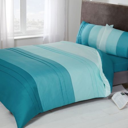 Brentfords Colour Block Duvet Set - Duck Egg Blue
