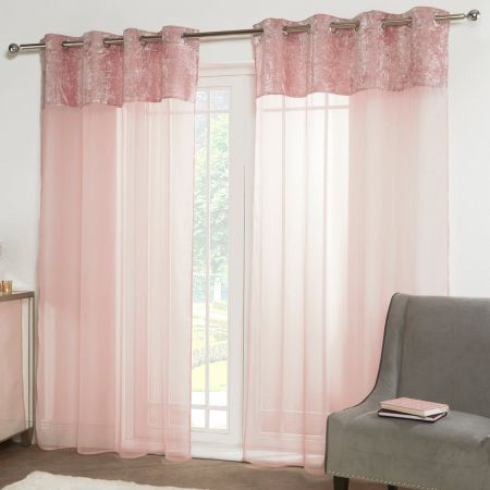 Sienna Crushed Velvet Voile Net Curtains Eyelet, Blush Pink - 55