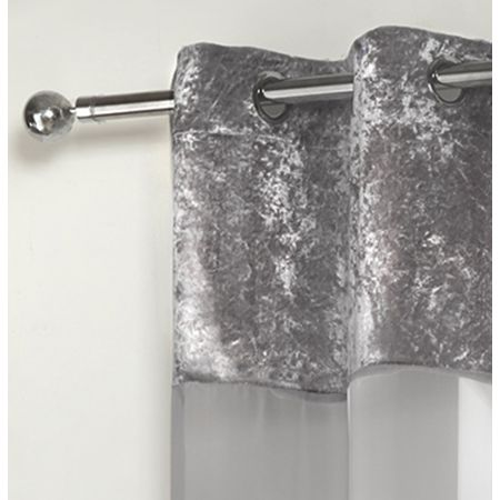 Sienna Crushed Velvet Voile Net Curtains Eyelet, Silver Grey - 55