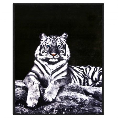 Dreamscene Faux Fur White Tiger Mink Throw - 150 x 200cm