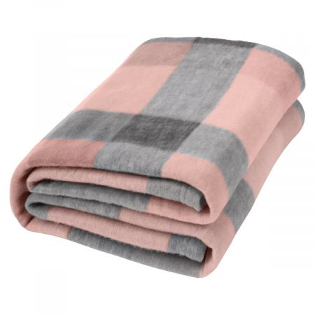 Dreamscene Tartan Check Fleece Throw, Blush Pink/Grey - 120 x 150 cm