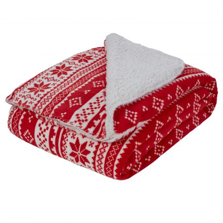 Dreamscene Nordic Print Sherpa Fleece Throw, Red/White - 150 x 180cm