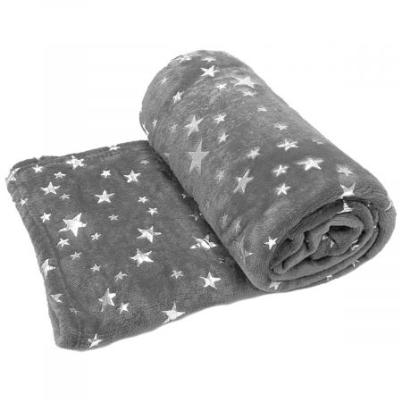 Dreamscene Supersoft Star Throw, Silver Grey - 125 x 150cm