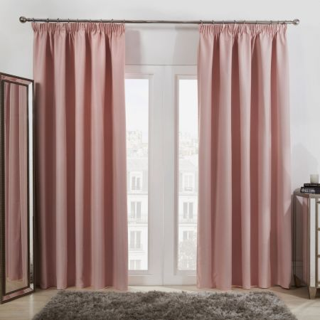 Pencil Pleat Blackout Curtains - Blush Pink