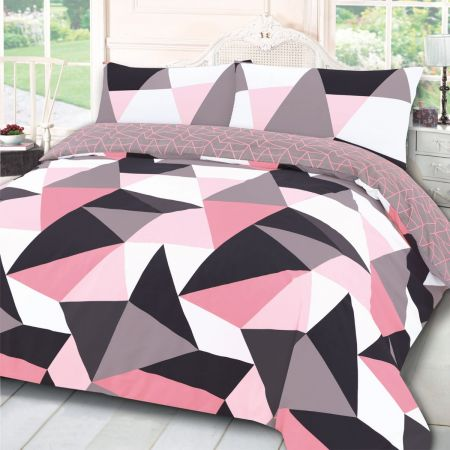 Dreamscene Shapes Geometric Duvet Set - Blush Pink