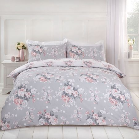 Dreamscene English Rose Duvet Set - Grey