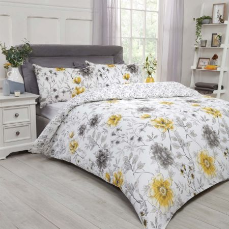 Dreamscene Botanical Garden Duvet Cover Set - Ochre