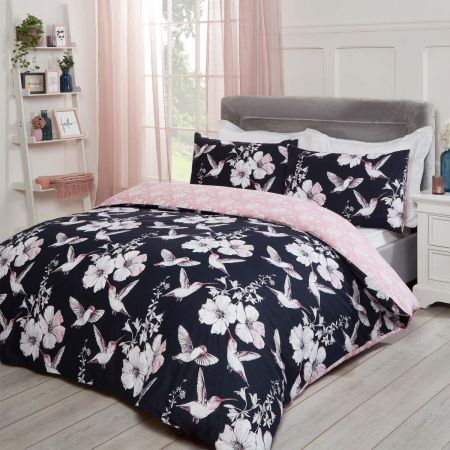 Dreamscene Hummingbirds Duvet Cover Set - Navy/Blush