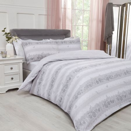 Dreamscene Lace Butterflies Duvet Cover Set - Grey