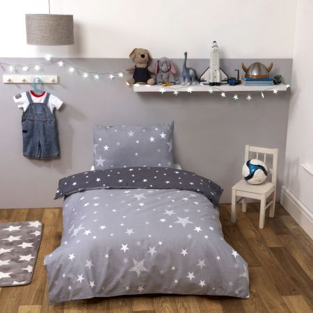 Dreamscene Stars Junior/Cot Duvet Set - Grey