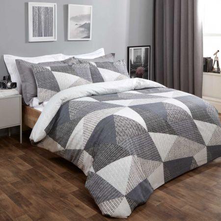 Dreamscene Textured Geometric Duvet Set - Grey