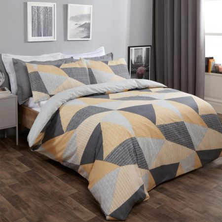 Dreamscene Textured Geometric Duvet Set - Ochre