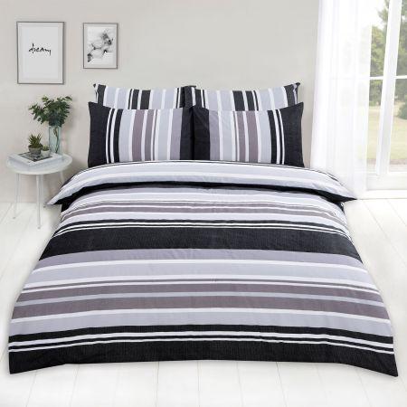 Dreamscene Wide Stripe Duvet Set - Charcoal Grey