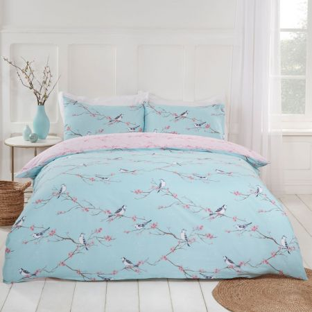 Dreamscene Blossom Bird Duvet Set - Duck Egg