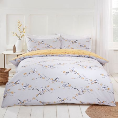 Dreamscene Blossom Bird Duvet Set - Grey