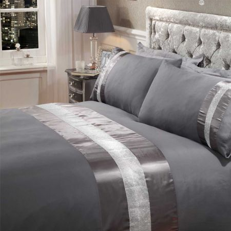 Sienna Diamante Sparkle Duvet Set - Dark Grey