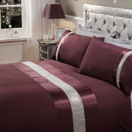 Sienna Diamante Sparkle Duvet Set - Mauve Purple