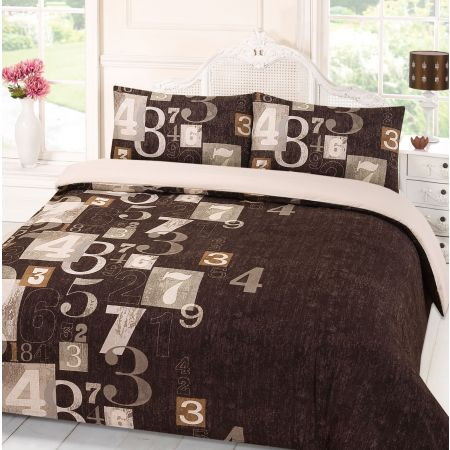 Dreamscene Digit Duvet Cover Set - Brown
