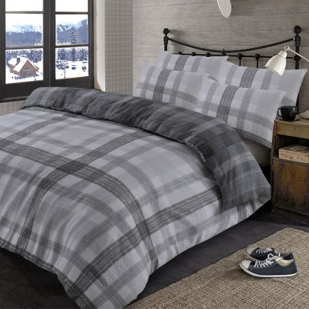 Dreamscene Boston Brushed Cotton Duvet Cover Set - Grey