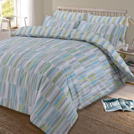 Dreamscene Ellipse Reversible Geometric Duvet Cover Set - Teal/Green