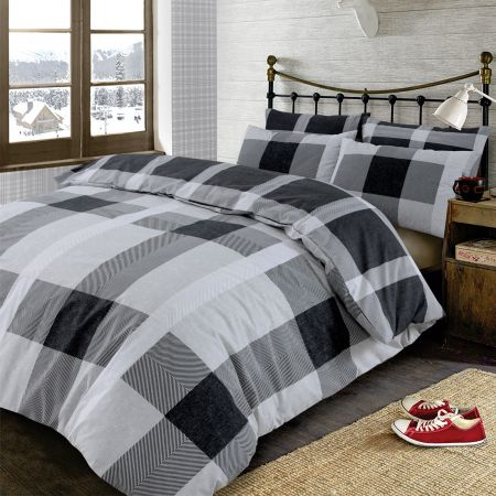 Dreamscene Wide Check Tartan Duvet Cover Set - Black/Grey