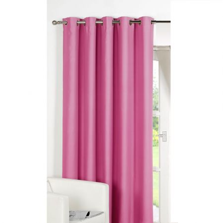 Luxury Ring Top Fully Lined Blackout Eyelet Thermal Door Curtain Pink 66