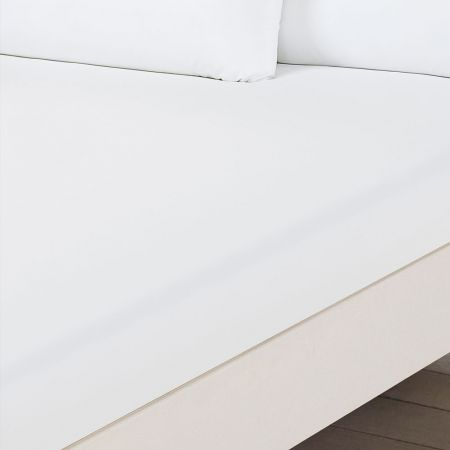 Brentfords Plain Dyed Double Fitted Sheet - White