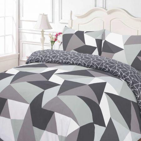 Dreamscene Shapes Geometric Duvet Cover Bedding Set, Black Grey - Single