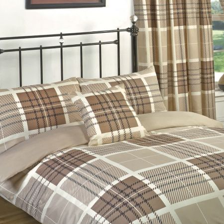 Dreamscene Hampton Duvet Set with Curtains, Double - Natural Beige