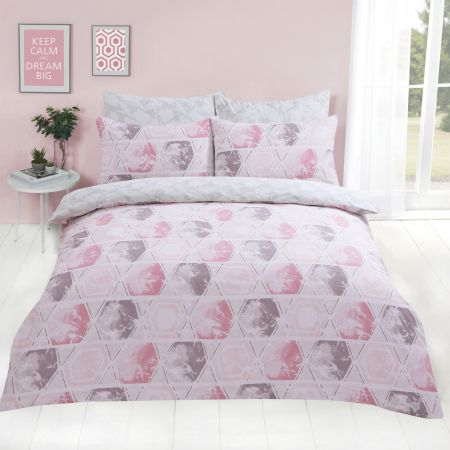Dreamscene Harmony Geometric Duvet Cover Set - Blush Pink