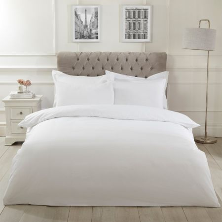 Highams Easy Care Polycotton Duvet Cover Set - White