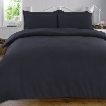 Highams 100% Cotton Plain Duvet Set - Black
