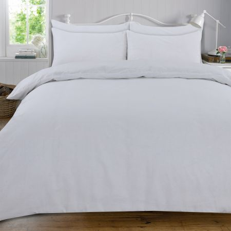 Highams 100% Cotton Plain Duvet Set - White