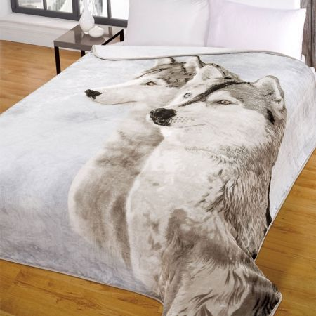 Dreamscene Husky Faux Fur Mink Throw - Husky