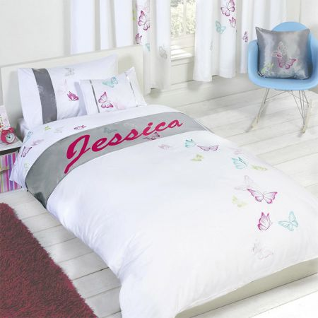 Jessica - Personalised Butterfly Duvet Cover Set