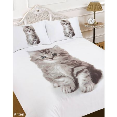 3D Kitten Duvet Cover Set - White