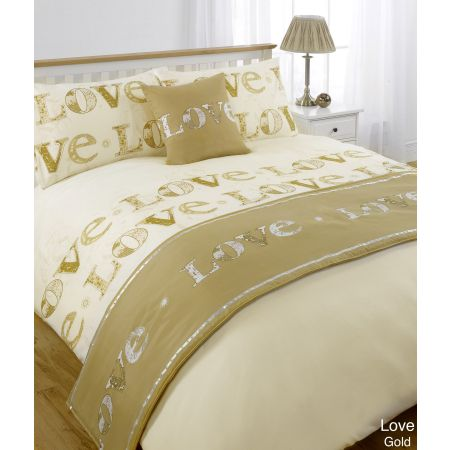 Love Bed In A Bag Duvet Cover Set - Gold