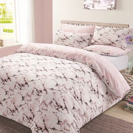 Dreamscene Pink Marble Duvet Cover Set - King