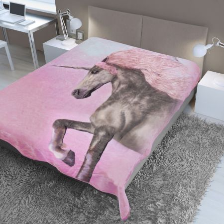 Dreamscene Unicorn Faux Fur Mink Throw - Pink - 150x200cm