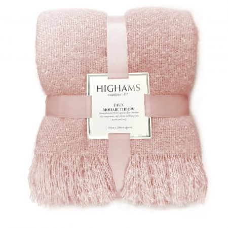 Highams Mohair Throw, Blush Pink - 150 x 200cm