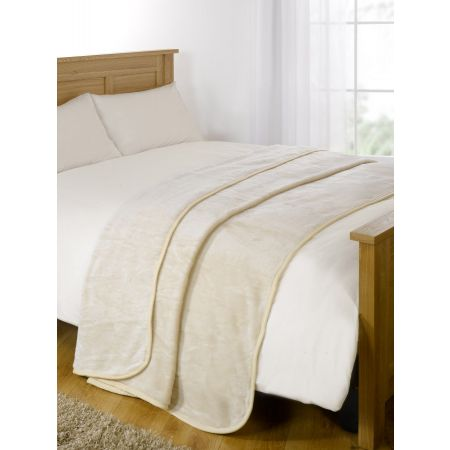 Faux Fur Mink Throw - Cream